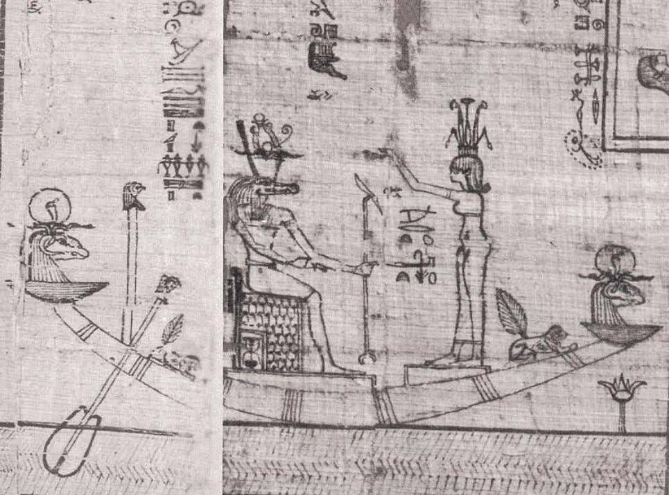 "Scene from the ""Book of the Faiyum"": the God Ra, crocodile-headed, wearing the ""Crown of"