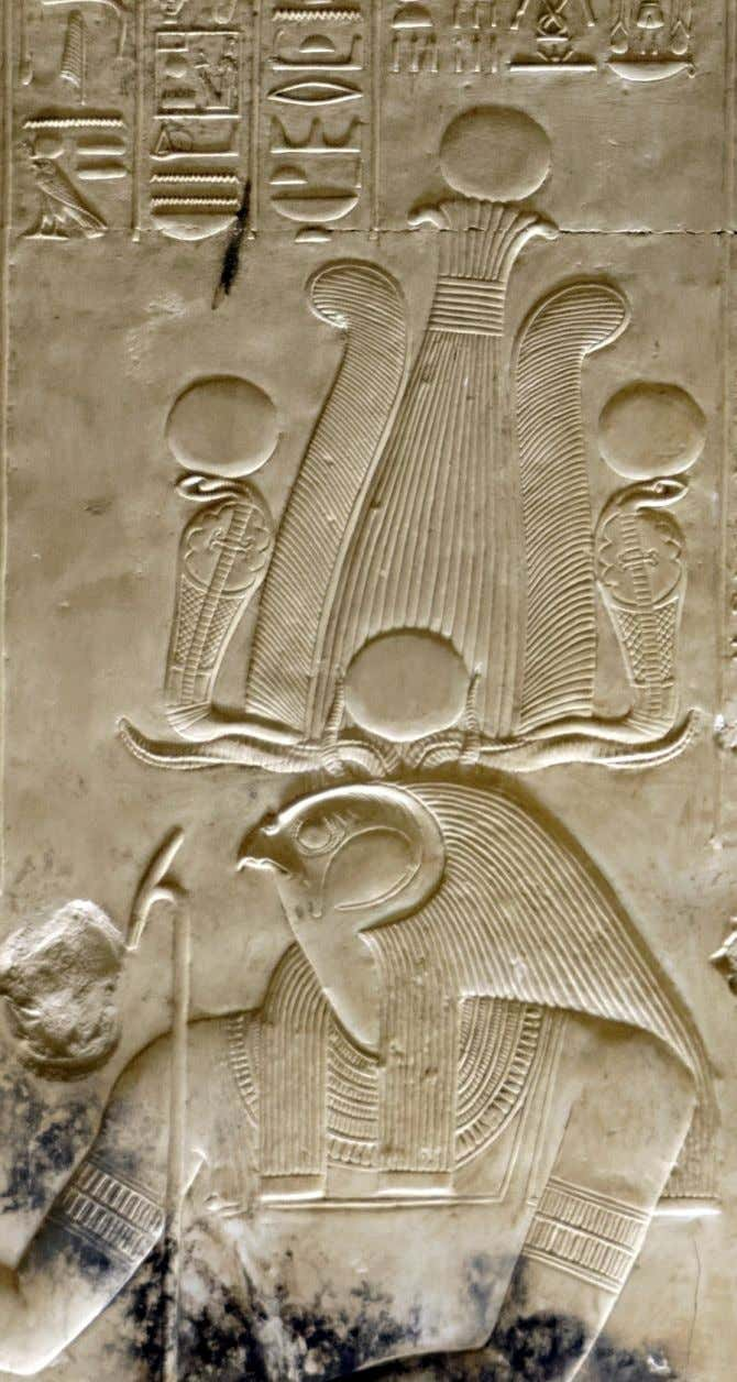 "I part: Ra as a falcon-headed man ""Great Temple"" of King Sethi I at Abydos, Chapel"