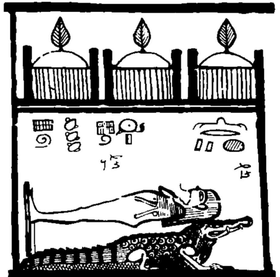 "-Ra in His form of sacred crocodile Scene from the ""Book of the Faiyum"": the God"