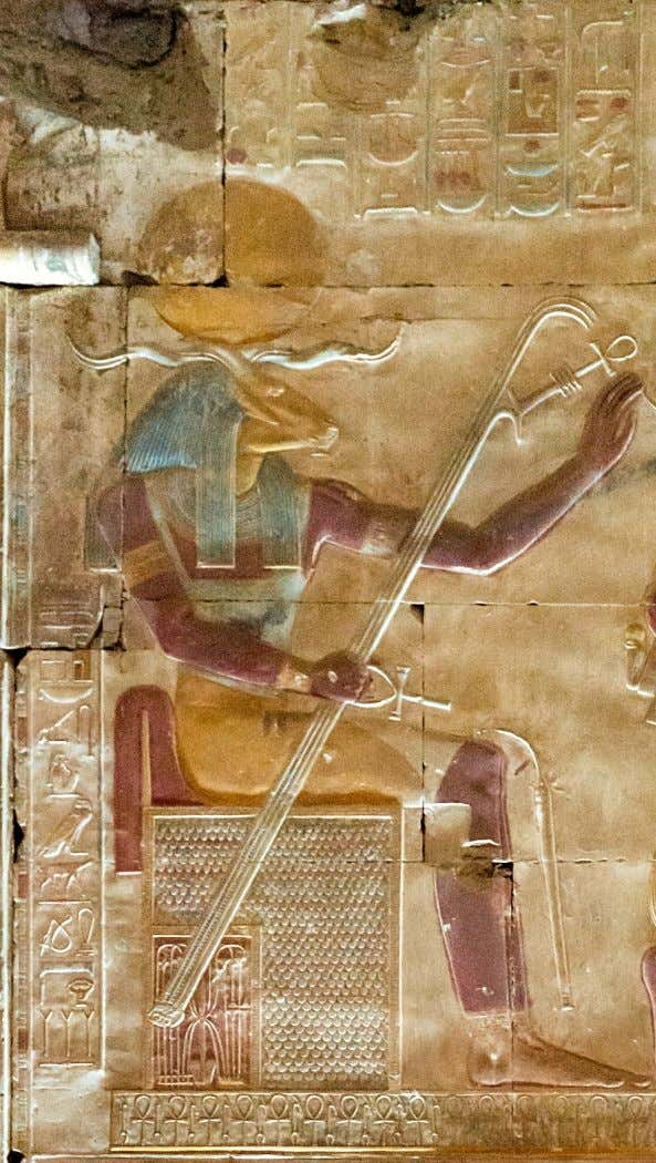 "X part: Ra as a ram-headed man ""Great Temple"" of King Sethi I at Abydos, detail"