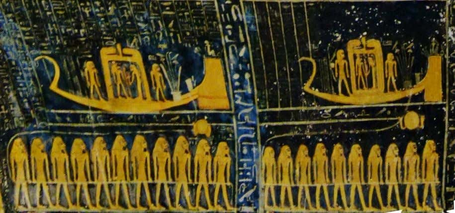 "-the ""flesh of Ra"" in the ""Books of the Netherworld"" The first two Solar barques represented"