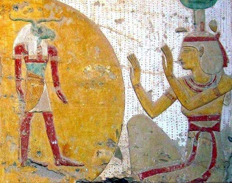 with a sacred scarab and ram-headed God represented inside Detail from the Entrance Gate of the