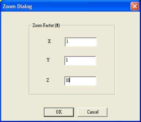 Define to set your view setting in X, Y and X directions. Figure 6 Zoom Define