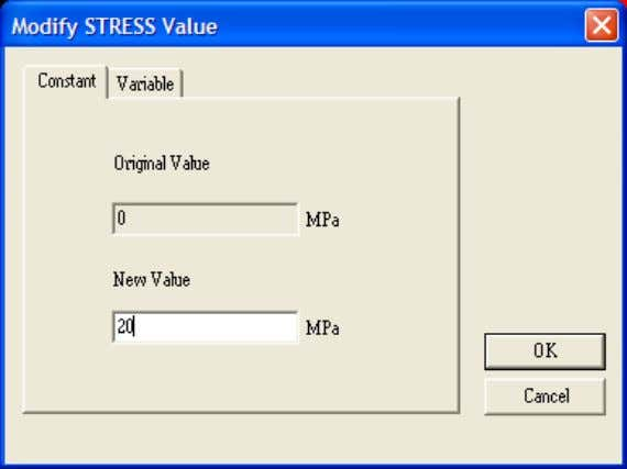 appear as shown in the Figure below. Double Click…Stress Enter…20 for the New Value of STRESS