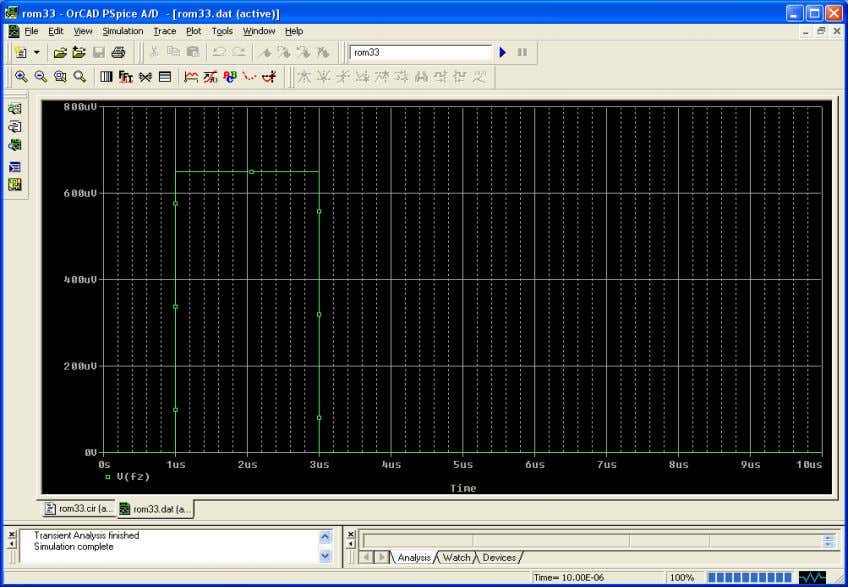 DC Sweep: Swept the external force from 0 to 1 mN Transient: Applied a 650 µN