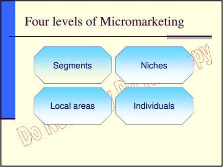 Four levels of Micromarketing Segments Niches Local areas Individuals