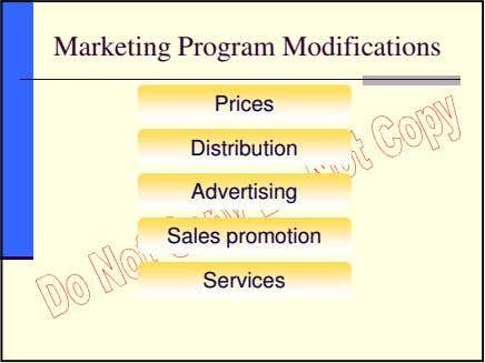 Marketing Program Modifications Prices Distribution Advertising Sales promotion Services