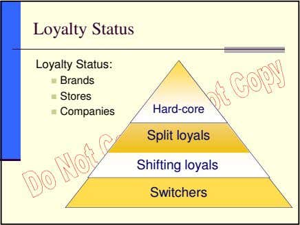 Loyalty Status Loyalty Status: Brands Stores Hard-core Companies Split loyals Shifting loyals Switchers