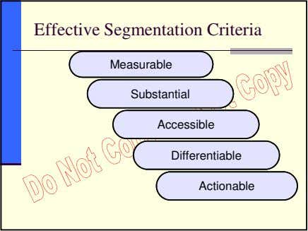 Effective Segmentation Criteria Measurable Substantial Accessible Differentiable Actionable