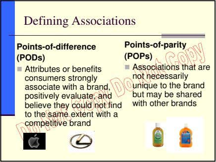 Defining Associations Points-of-difference (PODs) Attributes or benefits consumers strongly associate with a brand,
