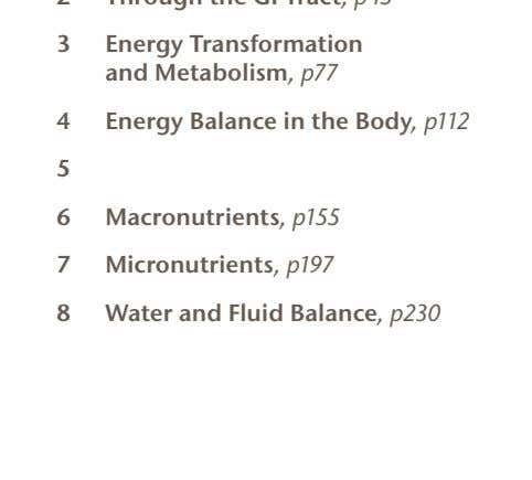 3 Energy Transformation and Metabolism, p77 4 Energy Balance in the Body, p112 5 6