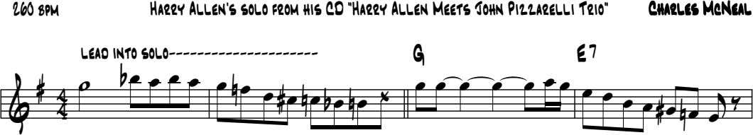"260 bpm Harry Allen's solo from his CD ""Harry Allen Meets John Pizzarelli Trio"" CharlesCharlesCharlesCharles"