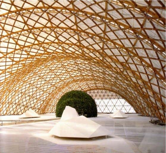 Here is a mesh portal frame utilising bamboo as the structural material. Architect: Shigeru Ban 55