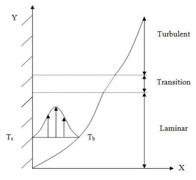 Fig. 5.2: Boundary layer on a hot vertical flat plate (T : surface temperature; T :