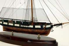"A model of a War of 1812 gunboat. ""JAMES B. COOPER, A Hero of Two"