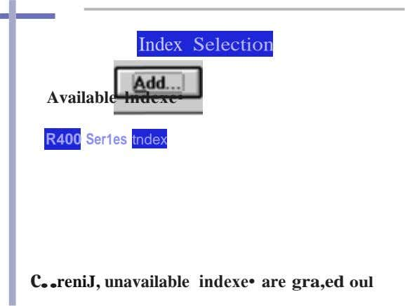 Index Selection Available lndexe• R400 Ser1es tndex c..reniJ, unavailable indexe• are gra,ed oul