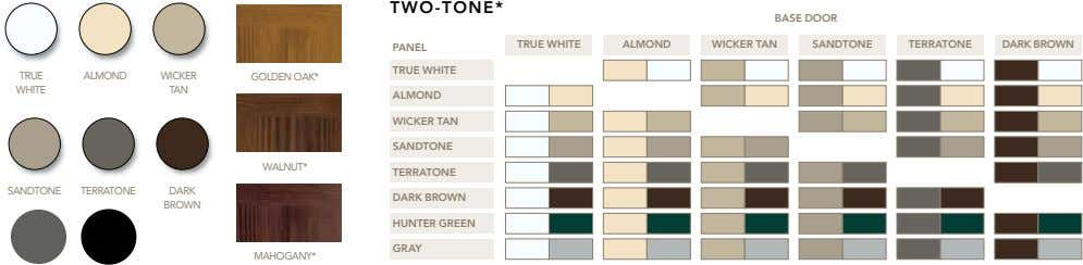 TWO-TONE* BASE DOOR TRUE WHITE ALMOND WICKER TAN SANDTONE TERRATONE DARK BROWN PANEL TRUE WHITE