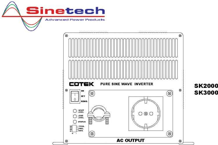 3-1-2. ON / OFF/ REMOTE (Main) switch : a. Before installing the inverter , make