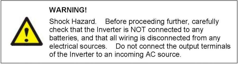and prolonged exposure also will damage the Inverter. 3-5. Making DC Wiring Connections : Follow this
