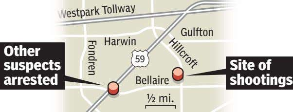 Hillcroft Fondren Gulfton Harwin Westpark Tollway Other 59 suspects Site of arrested Bellaire shootings ½
