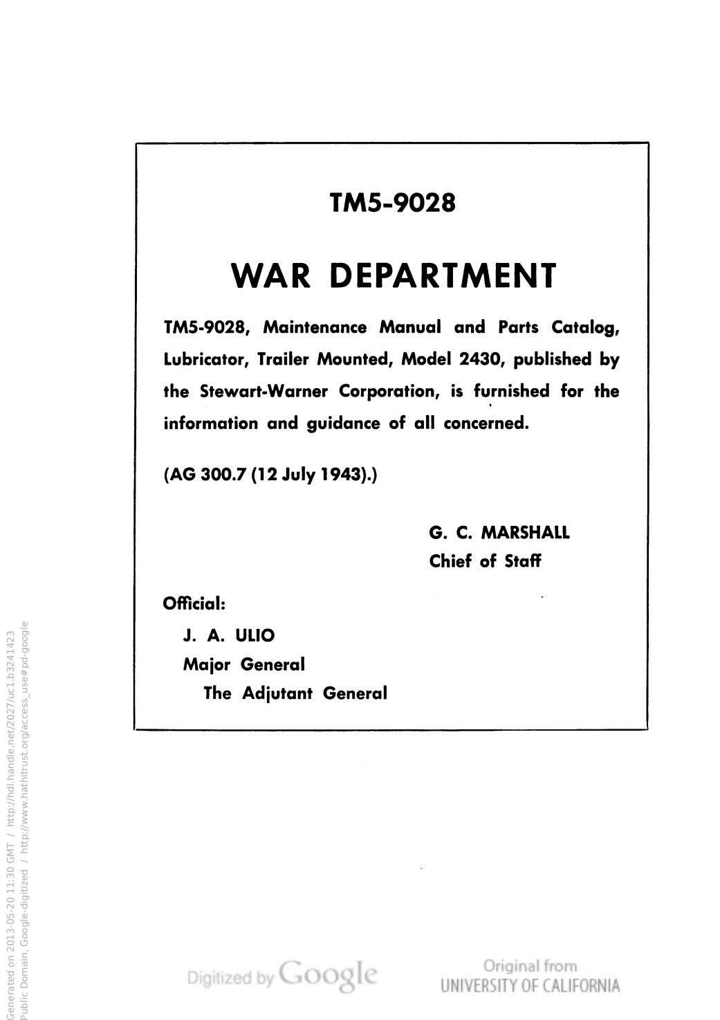TM5-9028 WAR DEPARTMENT TM5-9028, Maintenance Manual and Parts Catalog, Lubricator, Trailer Mounted, Model 2430,