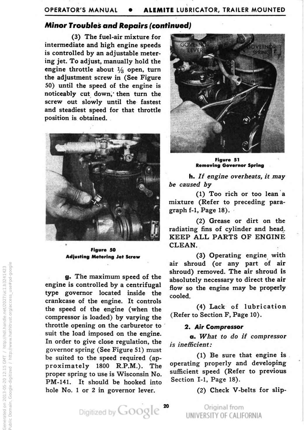 OPERATOR'S MANUAL ALEMITE LUBRICATOR, TRAILER MOUNTED Minor Troubles and Repairs (continued) (3) The fuel-air