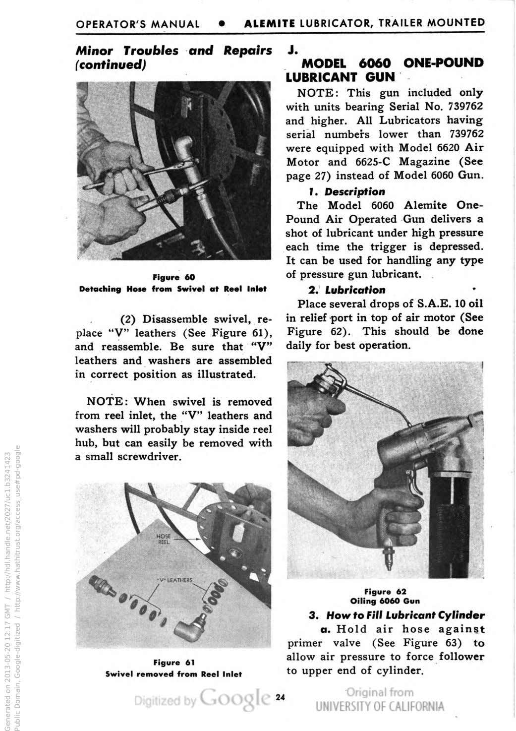 OPERATOR'S MANUAL • ALEMITE LUBRICATOR, TRAILER MOUNTED Minor Troubles and Repairs (continued) Figure 60