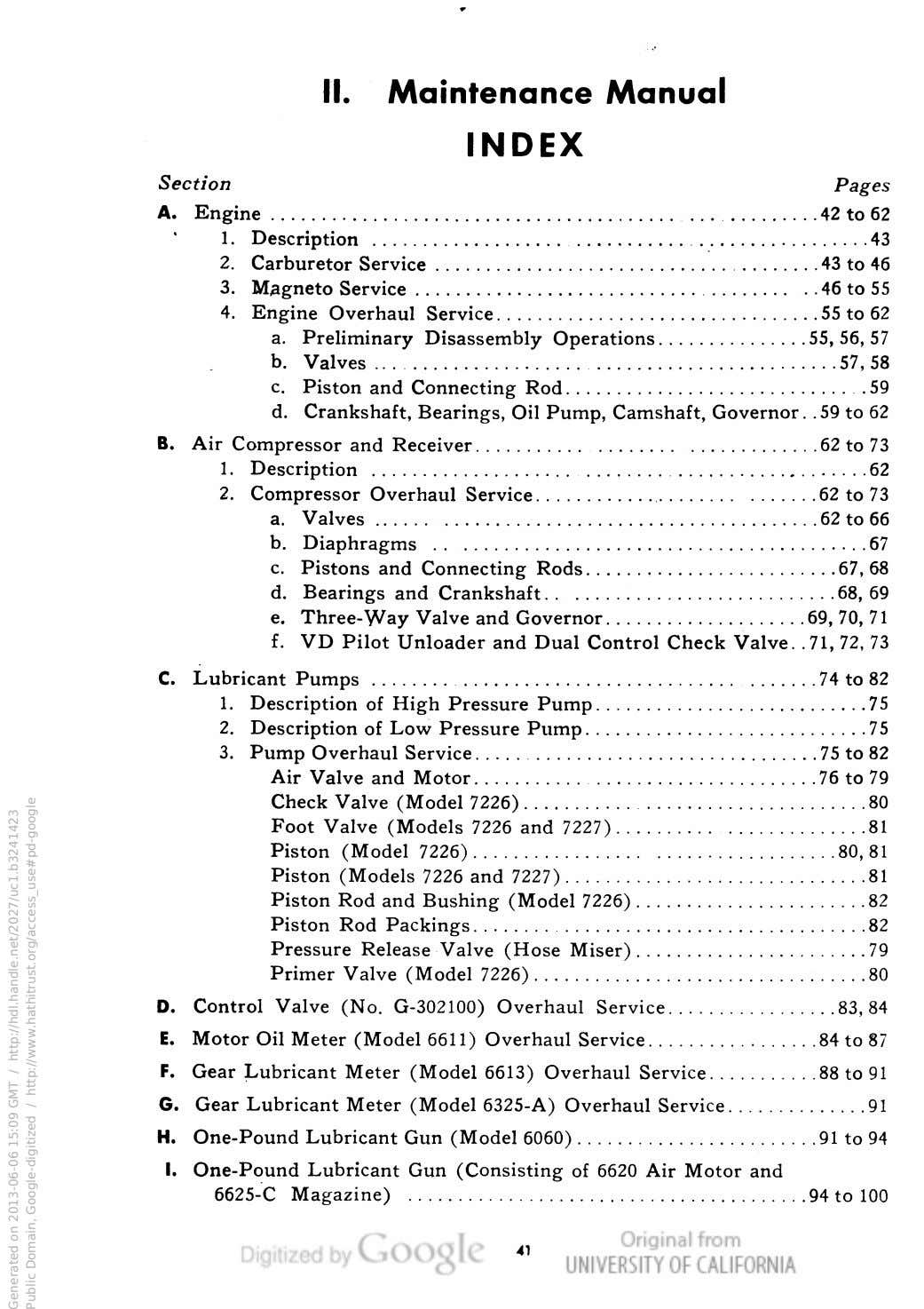 II. Maintenance Manual INDEX Section Pages A. Engine 42 to 62 1. Description 43 2.