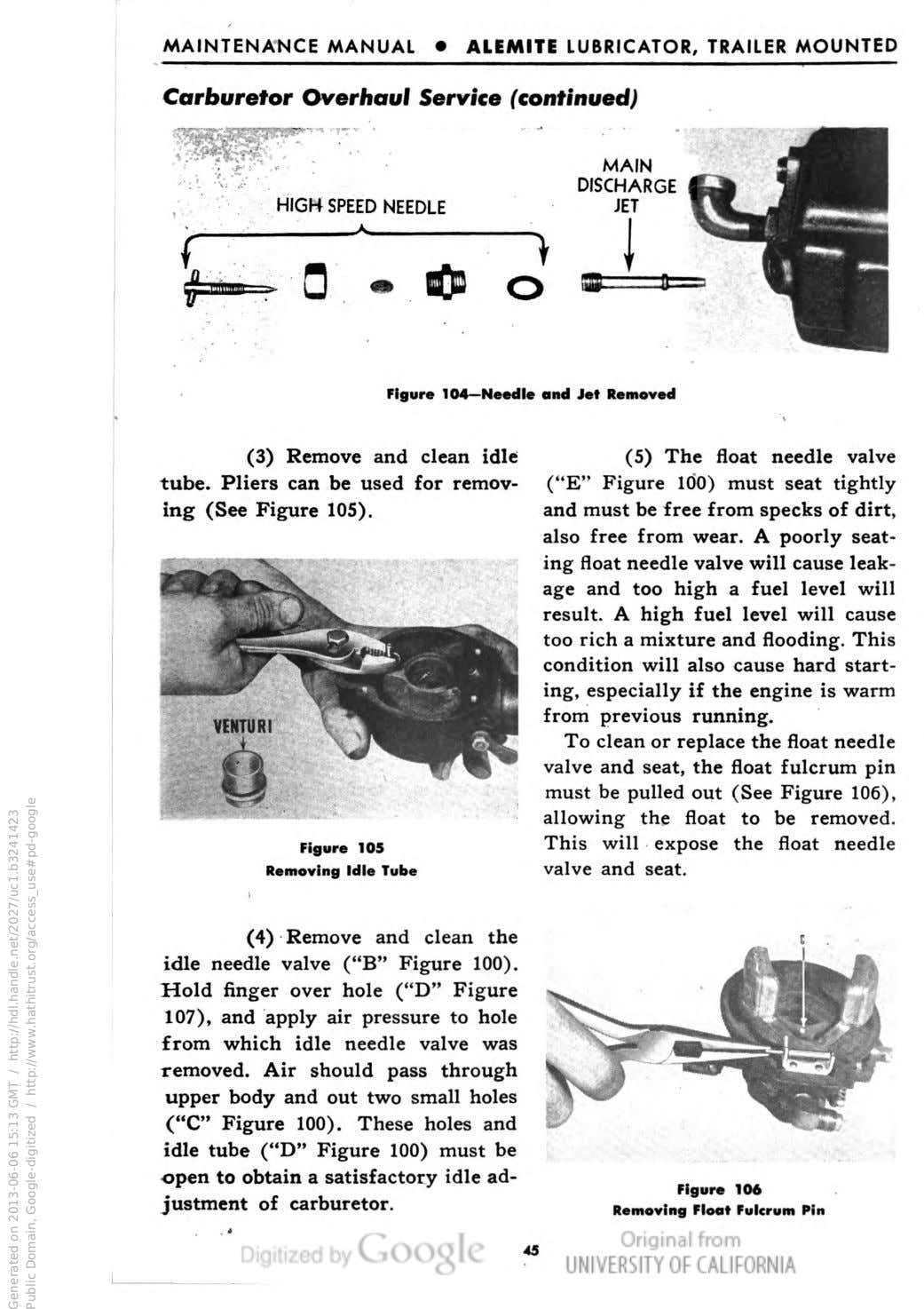 MAINTENANCE MANUAL • ALEMITE LUBRICATOR, TRAILER MOUNTED Carburetor Overhaul Service (continued) f HIGH SPEED NEEDLE
