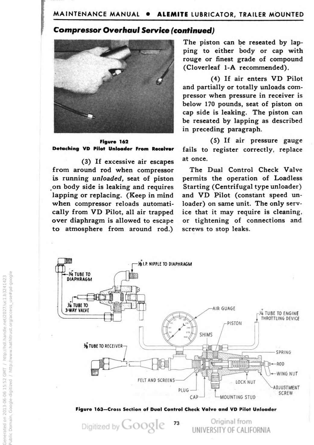 MAINTENANCE MANUAL • ALEMITE LUBRICATOR, TRAILER MOUNTED Compressor Overhaul Service (continued) Figure 162 Detaching