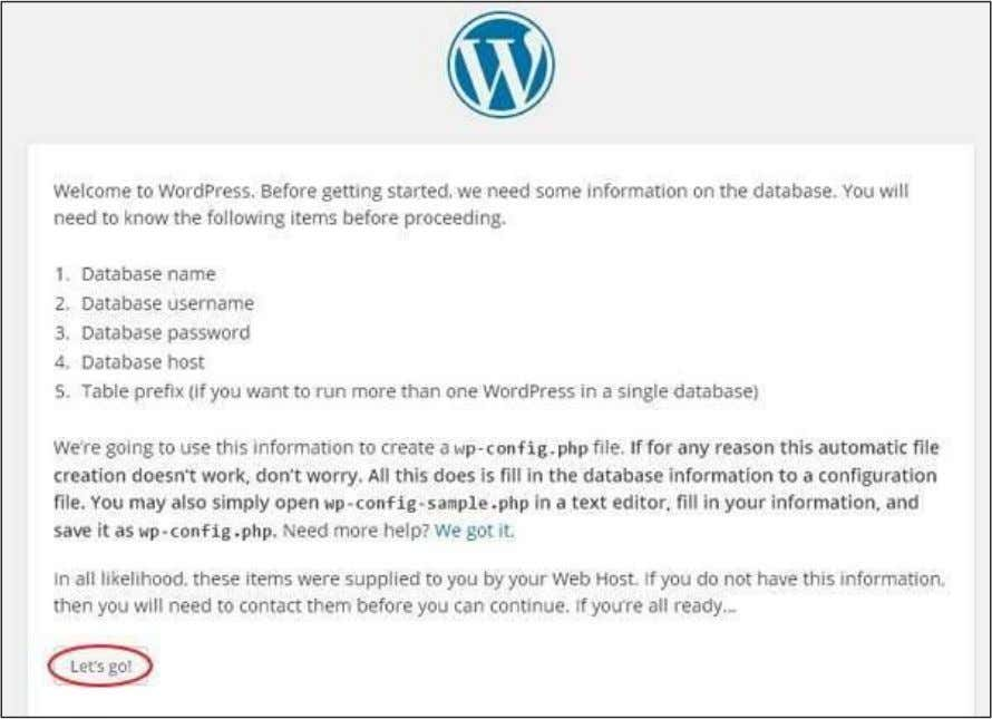 WordPress Click on Let's go! Step (4): Here, you have to enter the information about the