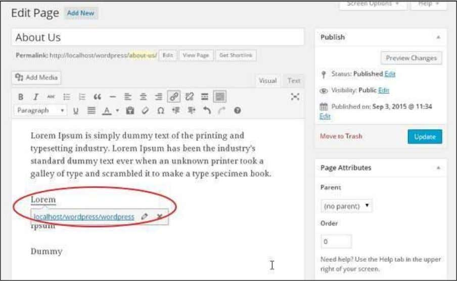 WordPress Click on Update button to update the changes in your page or post. 112