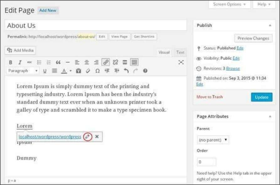 chapter WordPress - Add Links ) , and click on the pencil symbol to edit the