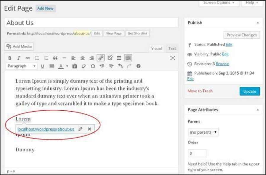 WordPress Click on Update button to update the changes in your page or post. 116
