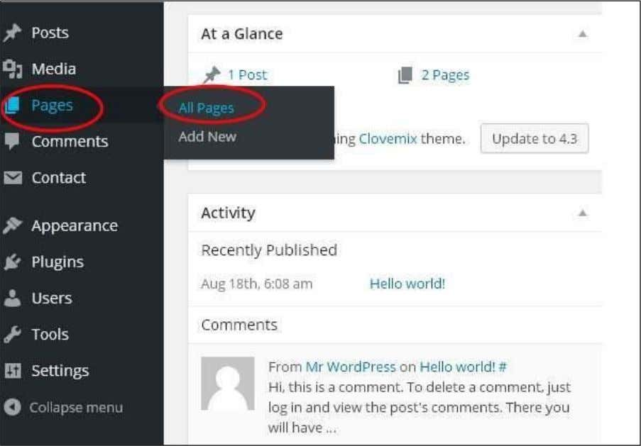 Step 1 : Click on Pages -> All Pages in WordPress. Step (2) : You can