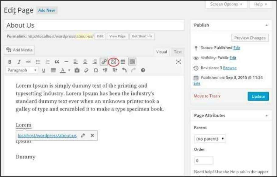 in the chapter WordPress - Add Links ) , and click on the Remove Link Symbol