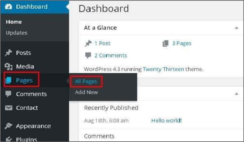 Step (1): Click on Pages -> All Pages in WordPress. Step (2): The list of pages