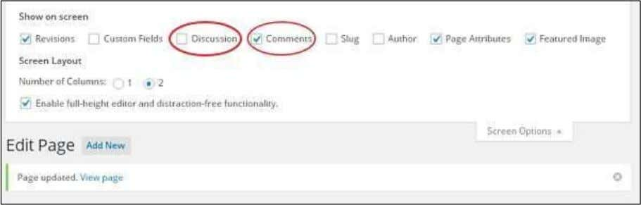 list of Screen Option gets displayed. Check the Discussion and Comments box as shown in the