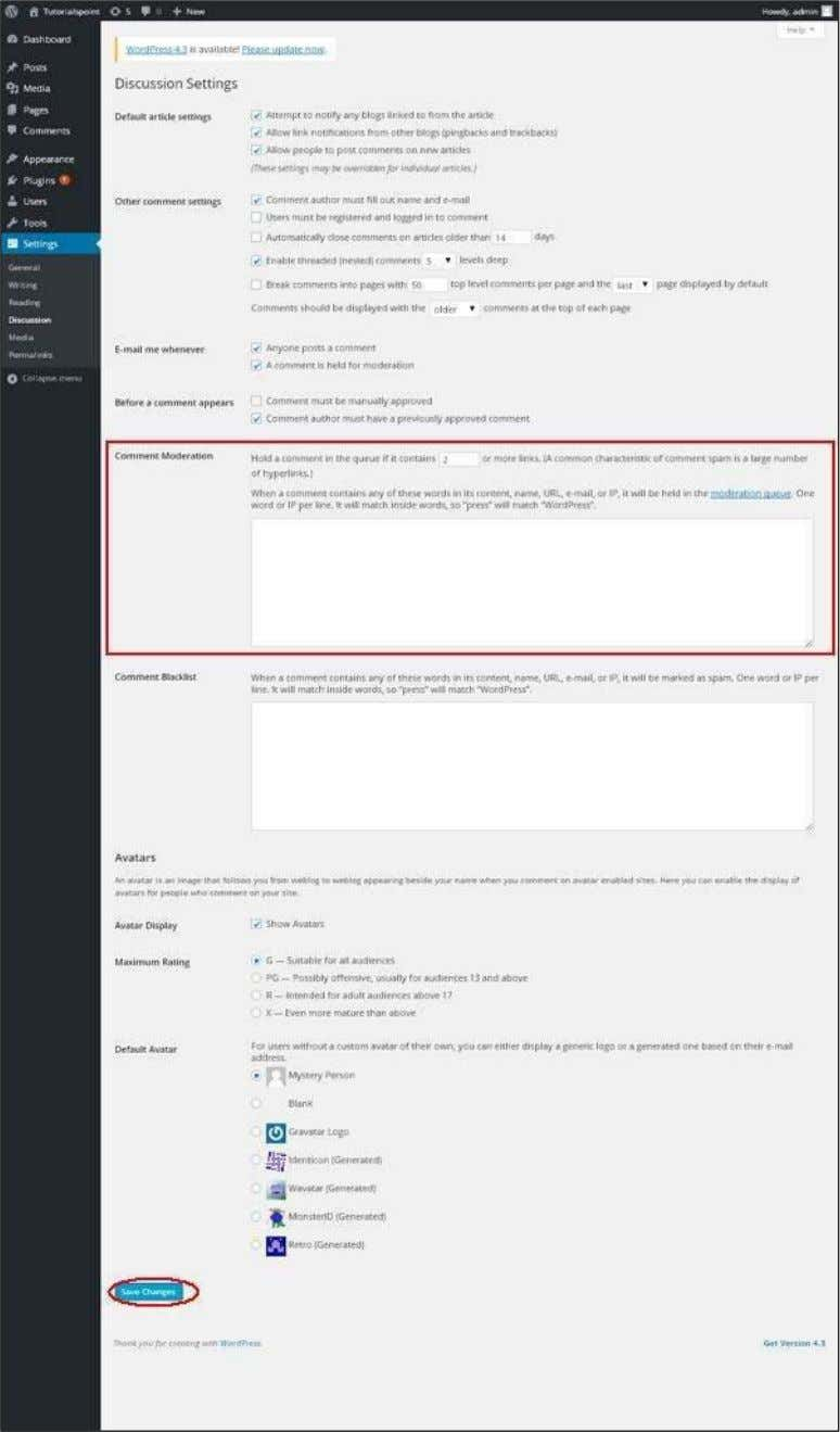 WordPress Step (2) : The Discussion Setting page gets displayed. 128