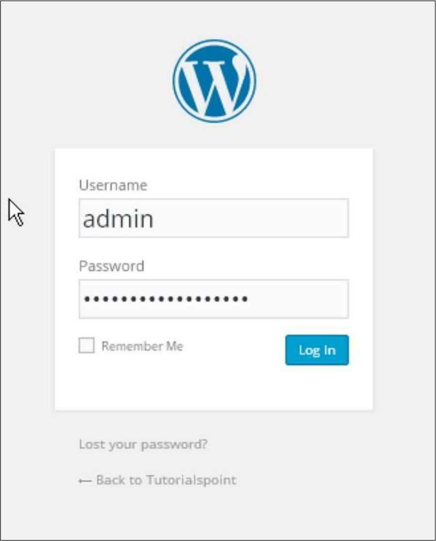 a WordPress Admin Panel as depicted in the following screen. Enter the username and password which
