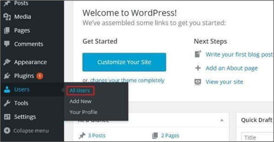 to Edit Users in WordPress. Step (1) : Click on Users --> All Users . Step