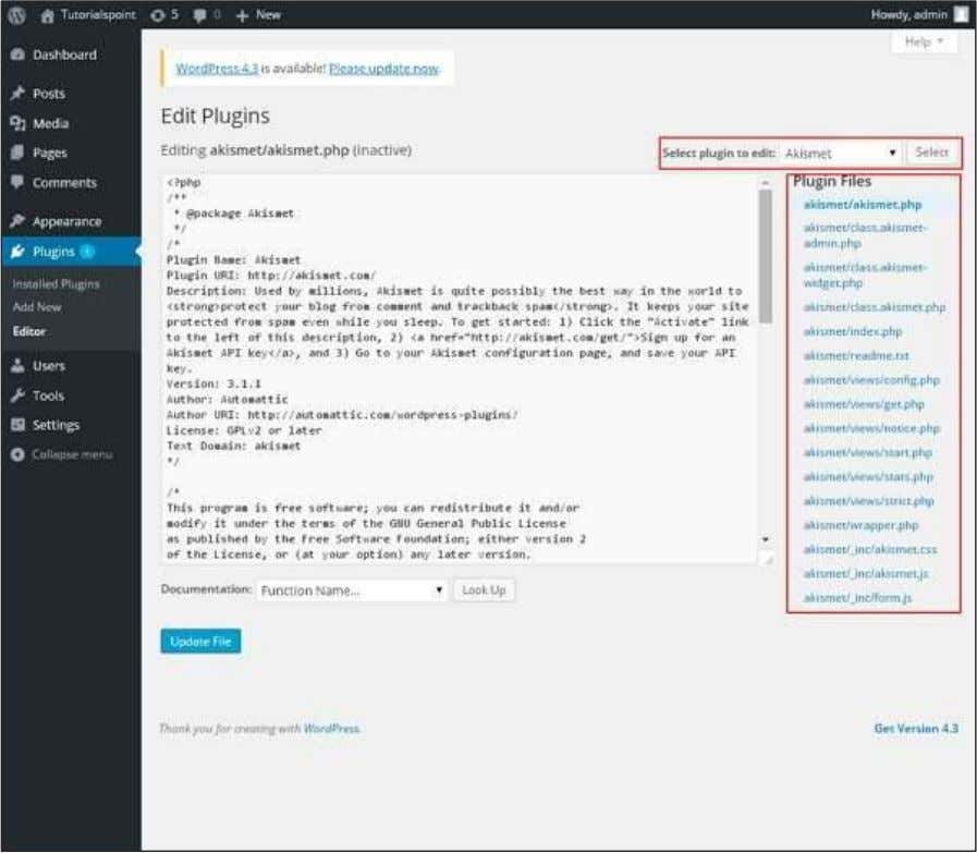 Step (6): The following page gets displayed. WordPress This page lets you edit your plugins. A