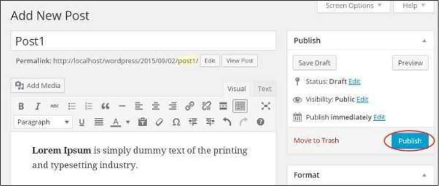 Click on Publish button to publish your respective post. Following are the few other options present