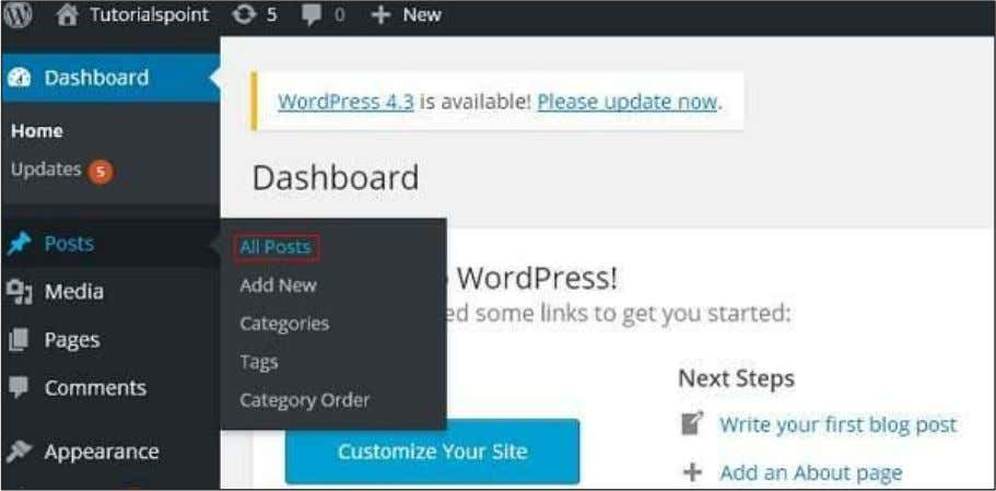 Step (1) : Click on Posts --> All Posts in WordPress. Step (2) : You can