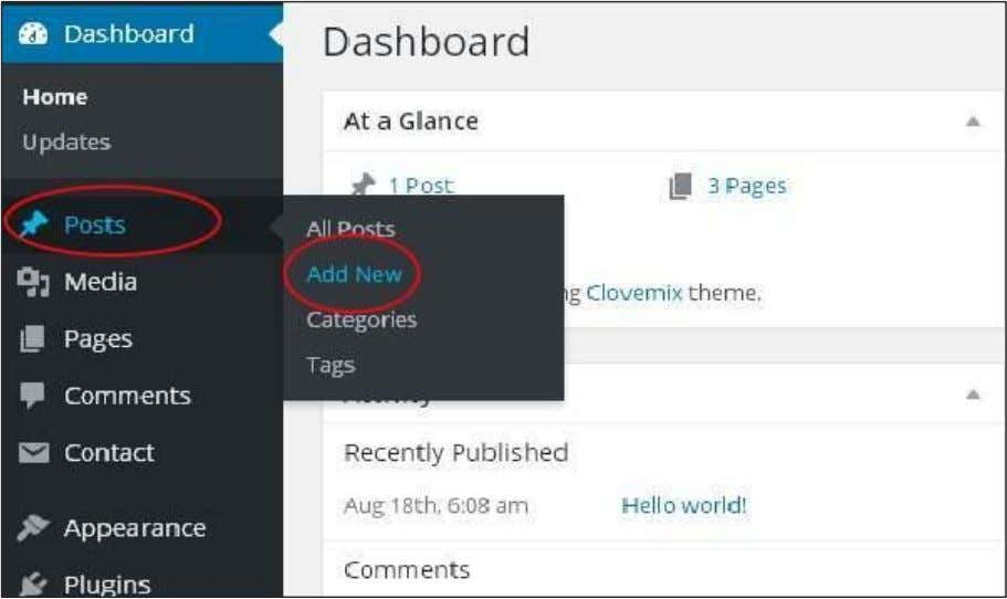 Following are the steps to Publish Posts in WordPress. Step (1) : Click on Posts ->Add