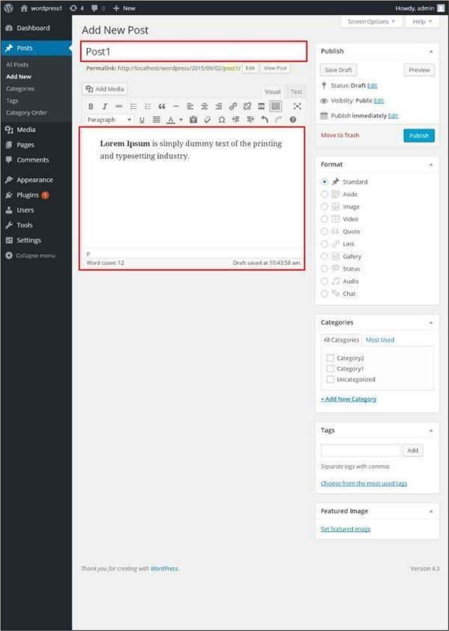 as shown in the following screenshot. You can use the WordPress WYSIWYG editor to add the