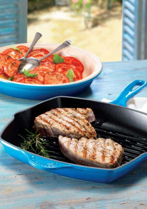 Marinated Grilled Tuna with Mediterranean Tomato Salad Serves 4 Tuna is best enjoyed when cooked