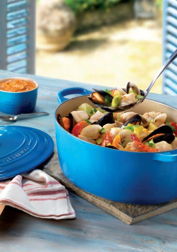 Bouilliabaisse with Rouille Serves 4-6 Bouillabaisse is a robust seafood soup made with a variety
