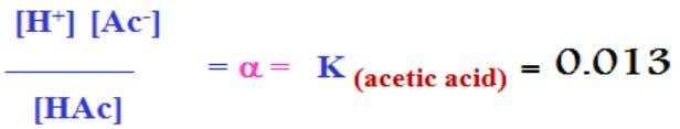"HAc Applying the law of mass action: H + + Ac - ""K"" is the ionization"