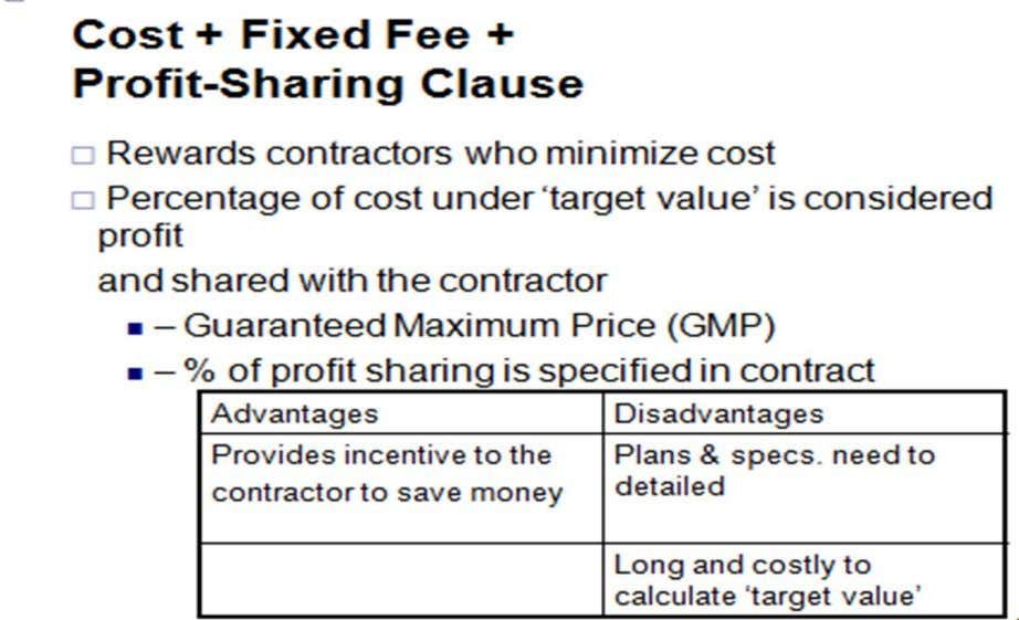  Most common form of negotiated contracts  • COST = expenses incurred by the contractor